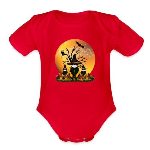 Happy Halloween with 3 masked cats - Organic Short Sleeve Baby Bodysuit