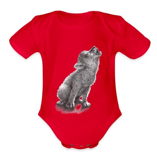 Little Howling Wolf - Organic Short Sleeve Baby Bodysuit
