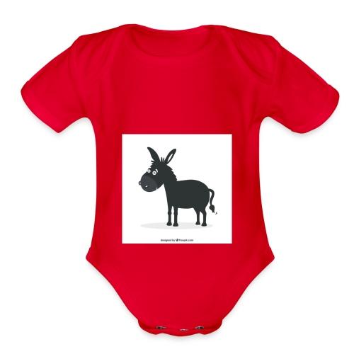Awesome donkey animated - Organic Short Sleeve Baby Bodysuit