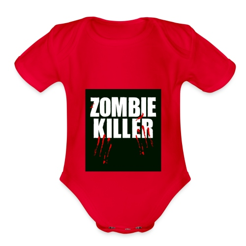 zombie killer shirt green - Organic Short Sleeve Baby Bodysuit