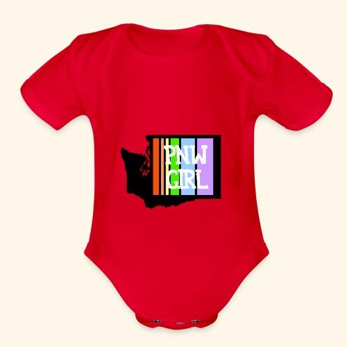 pnw rainbow - Organic Short Sleeve Baby Bodysuit