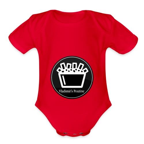 Vladimir s Poutine Logo - Organic Short Sleeve Baby Bodysuit