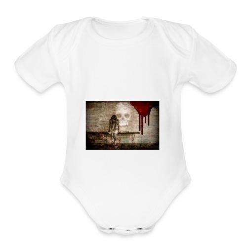 sad girl - Organic Short Sleeve Baby Bodysuit