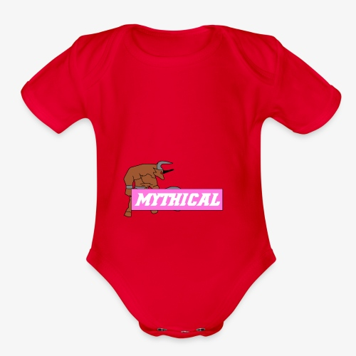 Mythical Logo Design - Organic Short Sleeve Baby Bodysuit
