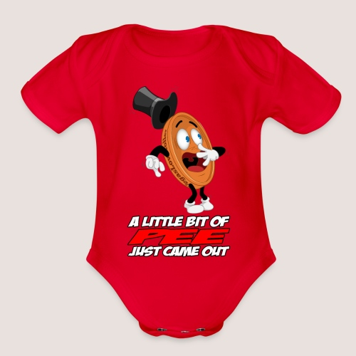 THE SCARED PENNY WITH TEXT - Organic Short Sleeve Baby Bodysuit