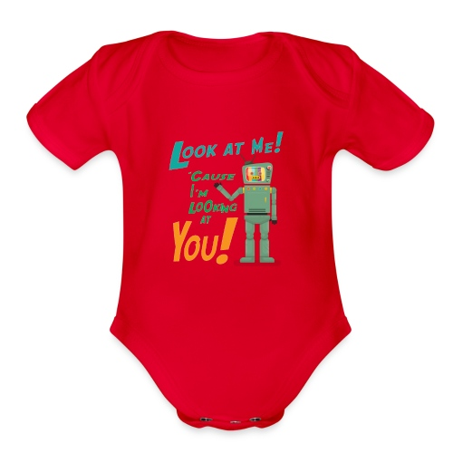 Look at me i'm watching you - Organic Short Sleeve Baby Bodysuit