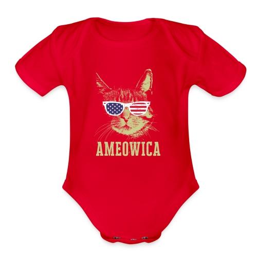 Ameowica Shirt Funny Cat Daddy Shirt for Men - Organic Short Sleeve Baby Bodysuit