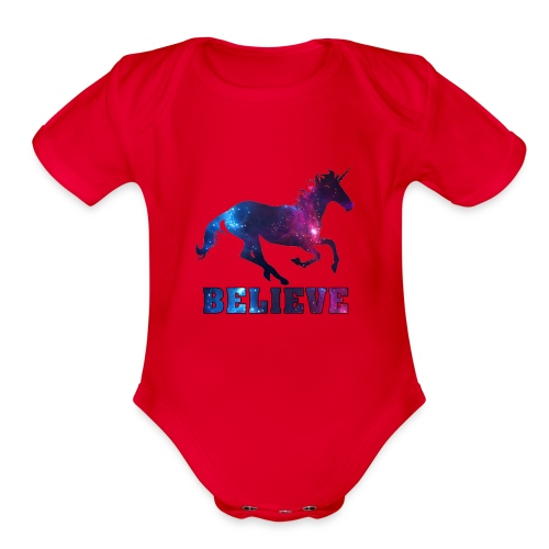 Believe Unicorn Universe 7 - Organic Short Sleeve Baby Bodysuit