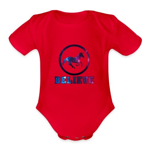 Believe Unicorn Universe 4 - Organic Short Sleeve Baby Bodysuit