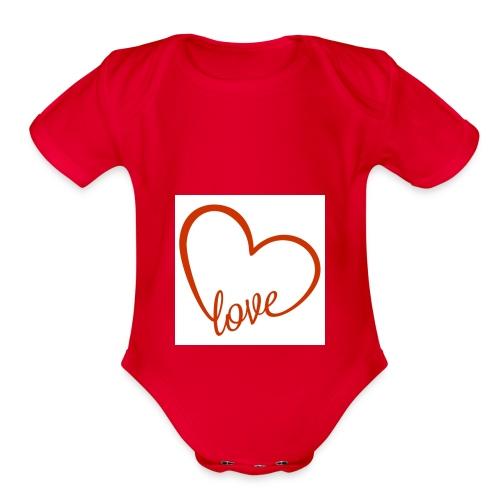 love1 - Organic Short Sleeve Baby Bodysuit