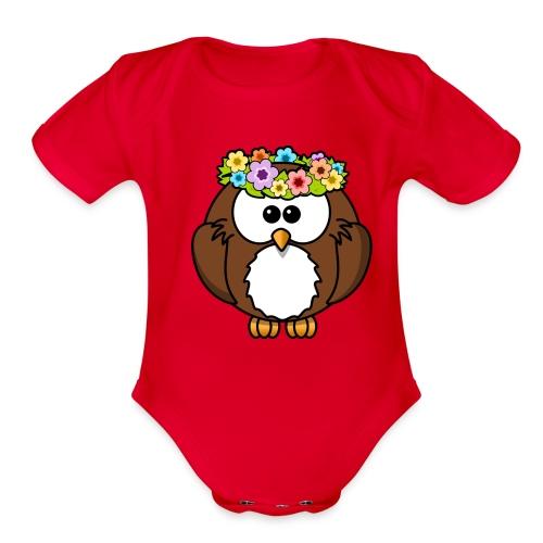 Owl With Flowers On Head T-Shirt - Organic Short Sleeve Baby Bodysuit