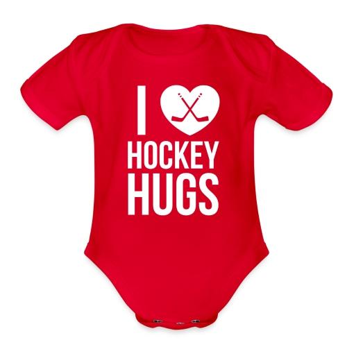 I [Heart] Hockey Hugs - Organic Short Sleeve Baby Bodysuit