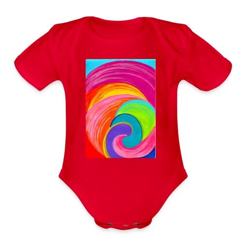 Colorful rainbow swirl - Organic Short Sleeve Baby Bodysuit