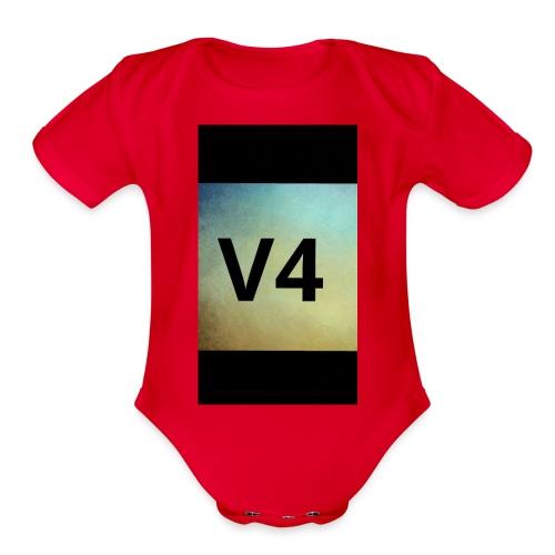 vintage v4 - Organic Short Sleeve Baby Bodysuit