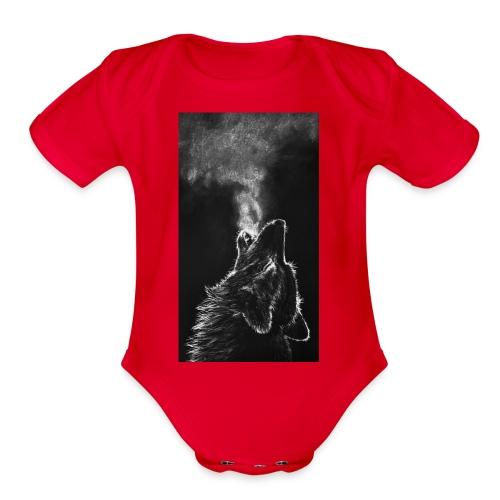 Wolf howl - Organic Short Sleeve Baby Bodysuit