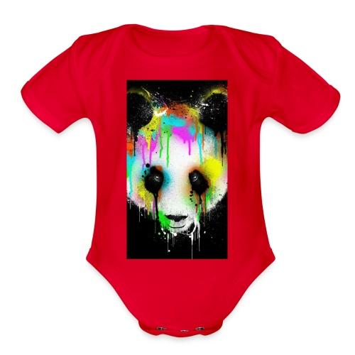 panda paint - Organic Short Sleeve Baby Bodysuit