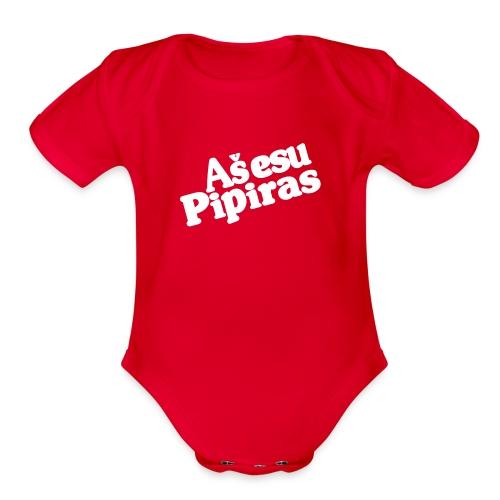 Dr. Pipiras White Text - Organic Short Sleeve Baby Bodysuit