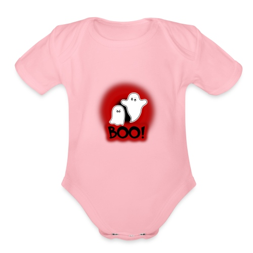 Ghosties Boo Happy Halloween 1 - Organic Short Sleeve Baby Bodysuit