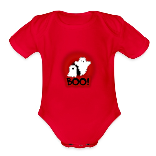 Ghosties Boo Happy Halloween 1 - Organic Short Sleeve Baby Bodysuit