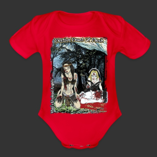 Thanksgiving Zombie Feast Full Background - Organic Short Sleeve Baby Bodysuit