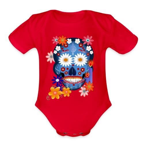 DarkSkull-day of the dead - Organic Short Sleeve Baby Bodysuit