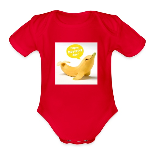 Banana dolphin - Organic Short Sleeve Baby Bodysuit