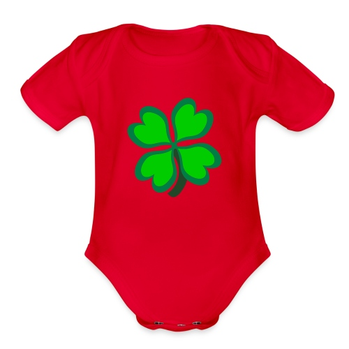 4 leaf clover - Organic Short Sleeve Baby Bodysuit