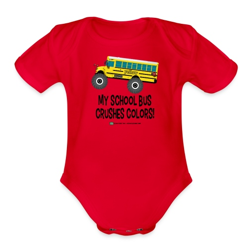 Monster_Schoolbus_Crushes - Organic Short Sleeve Baby Bodysuit