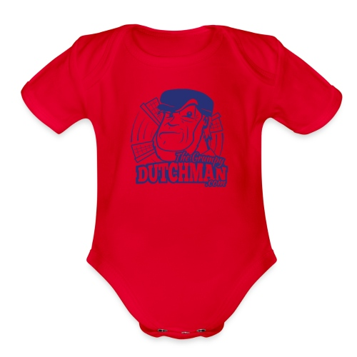 03 Grumpy Head Logo blue only - Organic Short Sleeve Baby Bodysuit