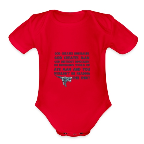 Funny Creation Dinosaur T Shirt - Organic Short Sleeve Baby Bodysuit
