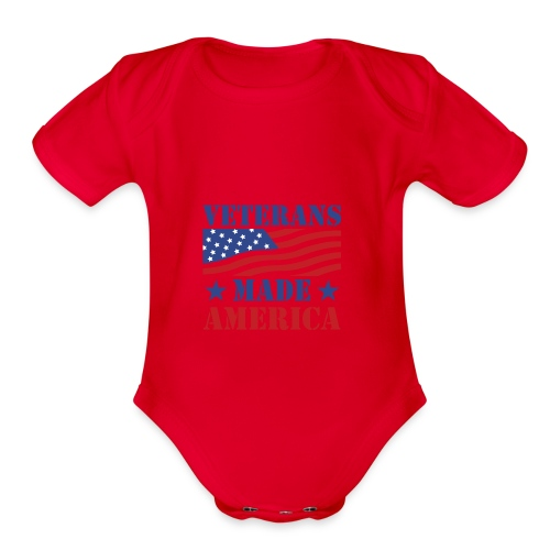 Veterans Made America logo - Organic Short Sleeve Baby Bodysuit