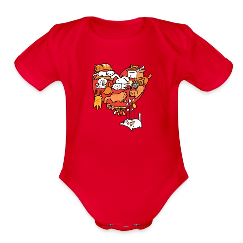 Catlentine s Day - Organic Short Sleeve Baby Bodysuit