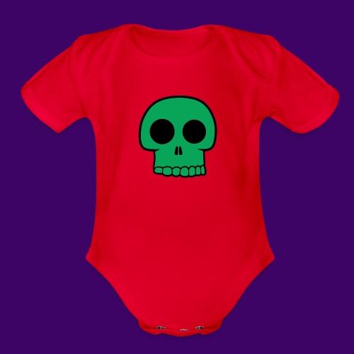 Green Skull - Organic Short Sleeve Baby Bodysuit