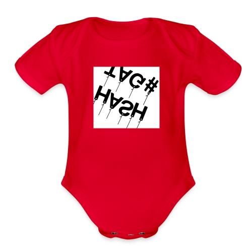Hash tag T - Organic Short Sleeve Baby Bodysuit