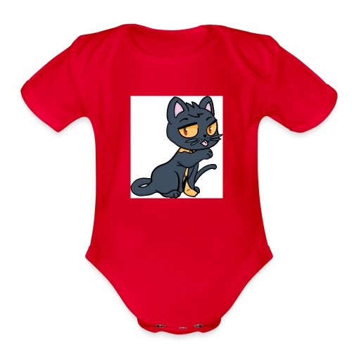 Kieran_Cat_Test - Organic Short Sleeve Baby Bodysuit