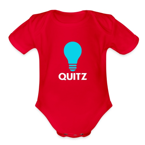 Quitz Blue w/ white text - Organic Short Sleeve Baby Bodysuit