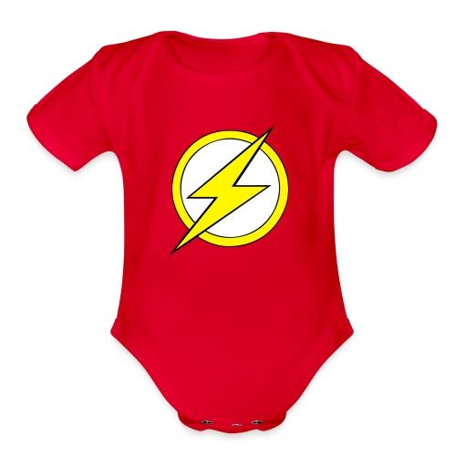 Kid Flash Logo - Second Channel - Organic Short Sleeve Baby Bodysuit