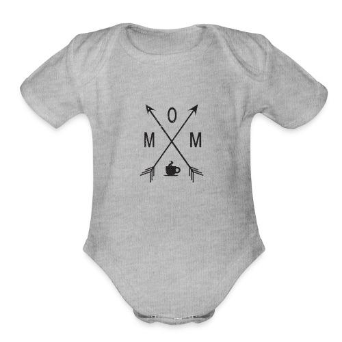 Mom Loves Coffee (black ink) - Organic Short Sleeve Baby Bodysuit