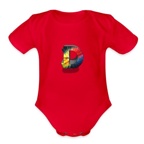 D Logo Colorful - Organic Short Sleeve Baby Bodysuit