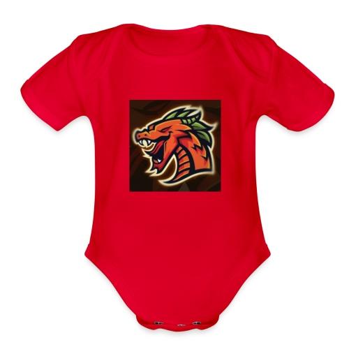 Crazy shooter logo - Organic Short Sleeve Baby Bodysuit