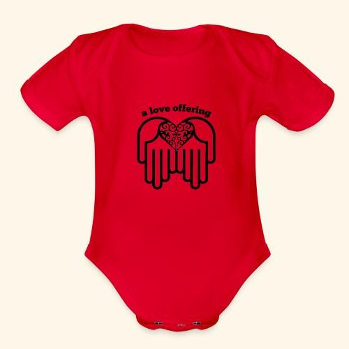 A Love Offering black - Organic Short Sleeve Baby Bodysuit