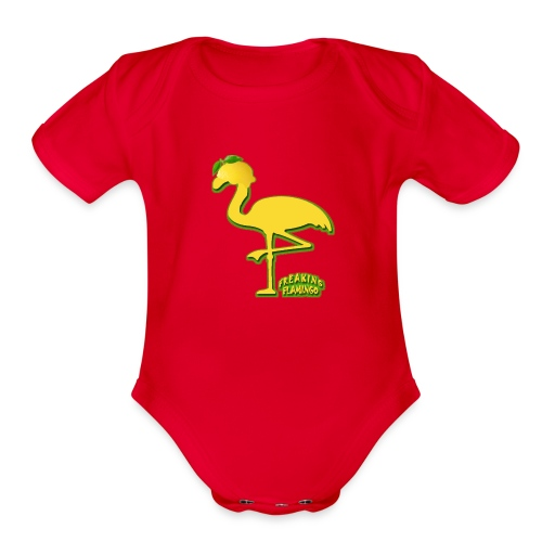 Fruit Flamingo Neon—Lemon - Organic Short Sleeve Baby Bodysuit