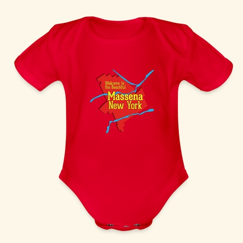 Massena NY Red - Organic Short Sleeve Baby Bodysuit