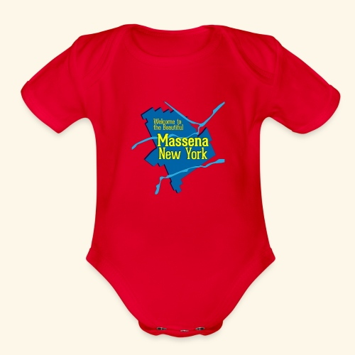 Massena NY Blue - Organic Short Sleeve Baby Bodysuit