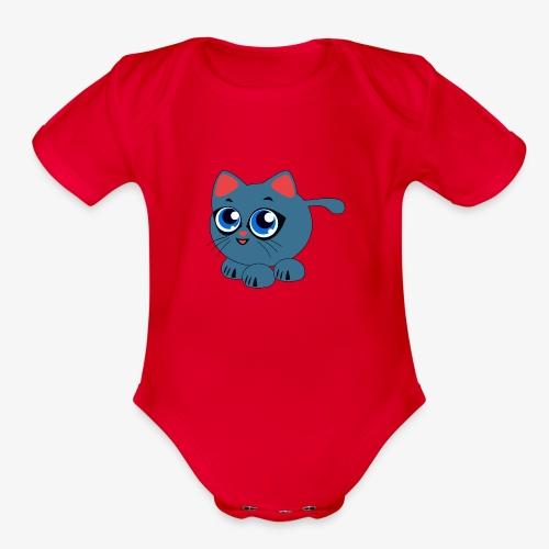 Baby Cat Funny - Organic Short Sleeve Baby Bodysuit