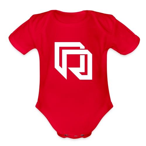 Red Iron Icon (White) - Organic Short Sleeve Baby Bodysuit