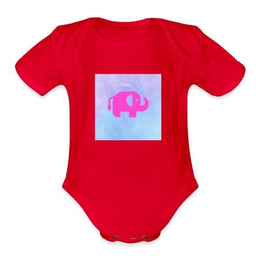baby elephant - Organic Short Sleeve Baby Bodysuit