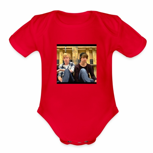 sam and colby fan - Organic Short Sleeve Baby Bodysuit