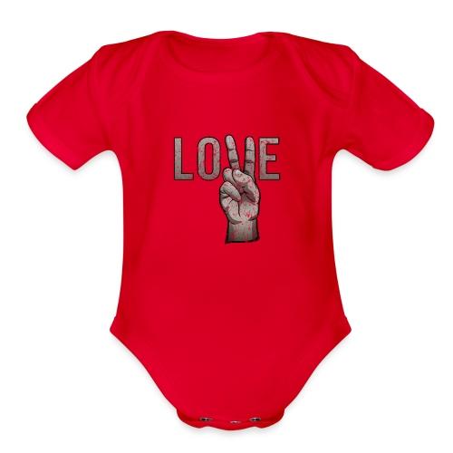 Peace Love - Organic Short Sleeve Baby Bodysuit