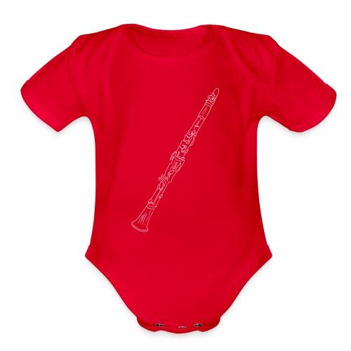 Clarinet · white rotate - Organic Short Sleeve Baby Bodysuit